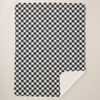 Plaid noir et blanc diagonal confortable de