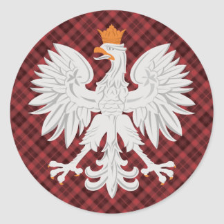 Plaid polonais de rouge d'Eagle Sticker Rond