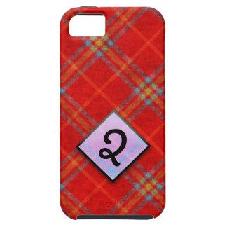 Plaid rouge avec la conception de monogramme pour coque iPhone 5