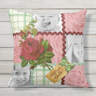Plaid rouge de vert de rose de rose de photo de coussin d'extérieur