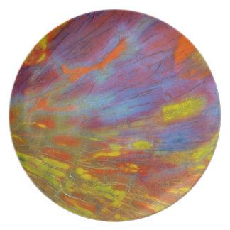 Plan rapproché coloré en bois Petrified Assiettes En Mélamine