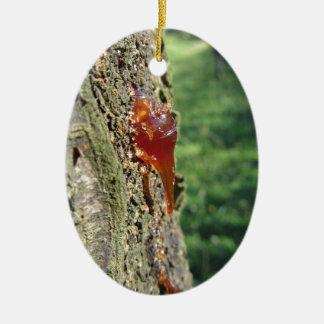 Plan rapproché d'excrétion de poirier de résine ornement ovale en céramique