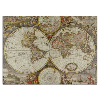 Planche À Découper Carte antique du monde, C. 1680. Par Frederick de