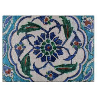 Planche À Découper Conception florale bleue et blanche de tuile d'ère