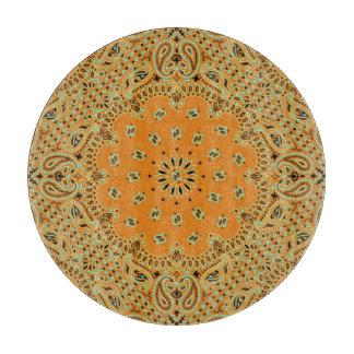 Planche À Découper Disque en verre d'art de l'Inde Paisley de tissu