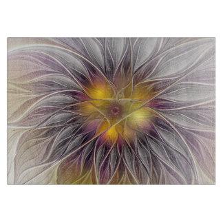 Planche À Découper Fleur lumineuse, art abstrait de fractale