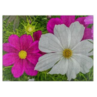 Planche À Découper Fleurs blanches et roses en verre