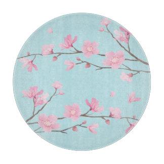 Planche À Découper Fleurs de cerisier carrées - bleu de ciel