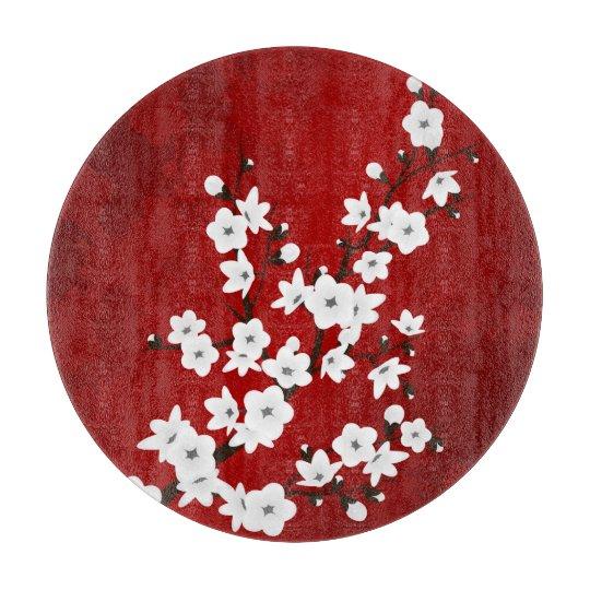 Planche À Découper Fleurs de cerisier noires et blanches rouges