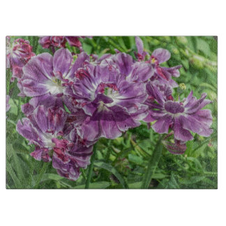 Planche À Découper Fleurs mauve-clair en verre