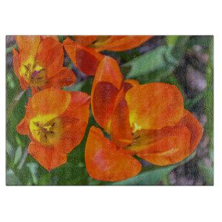 Planche À Découper Fleurs oranges en verre