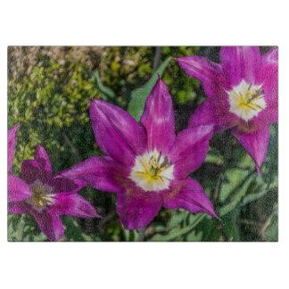 Planche À Découper Fleurs pourpres et jaunes en verre