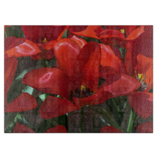 Planche À Découper Fleurs rouges en verre