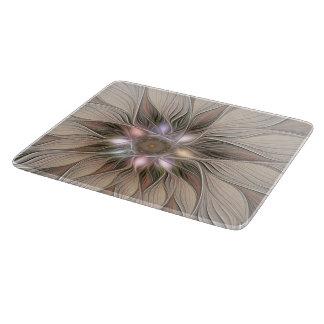Planche À Découper Fractale florale beige de Brown d'abrégé sur