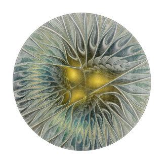Planche À Découper Imaginaire d'or de fleur, art abstrait de fractale