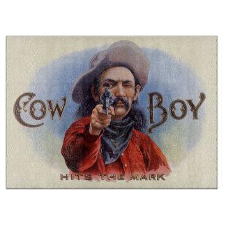 Planche À Découper L'art vintage d'étiquette de cigare, cowboy frappe