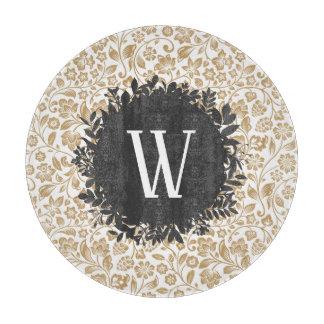 Planche À Découper Motif floral d'or avec le monogramme gris-foncé de