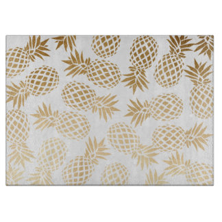 Planche À Découper motif tropical d'ananas d'or élégant de faux