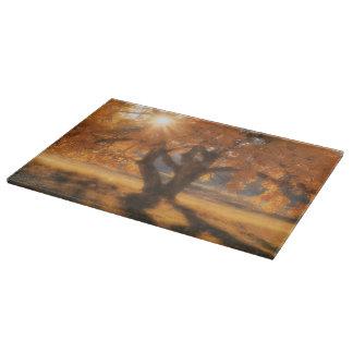 Planche À Découper Paysage occidental en verre d'arbre de planche à