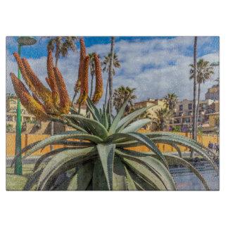 Planche À Découper Plante et fleurs de Vera d'aloès en verre