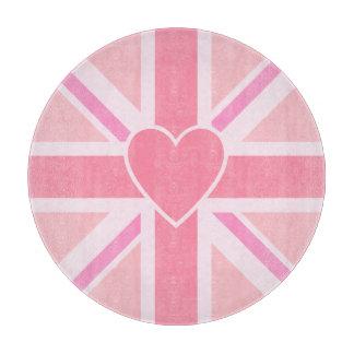 Planche À Découper Union Jack/roses et coeur de drapeau