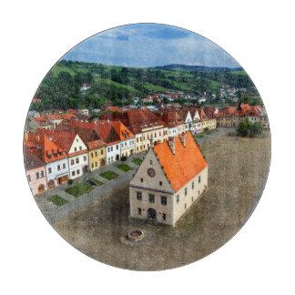 Planche À Découper Vieille place dans Bardejov par jour, Slovaquie