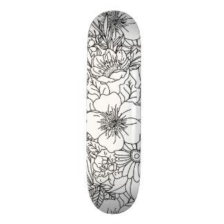 Planche À Roulette Customisée Conception florale tirée par la main élégante de