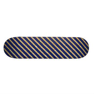 Planches À Roulettes Customisées Bleu marine et motif diagonal de rayure de