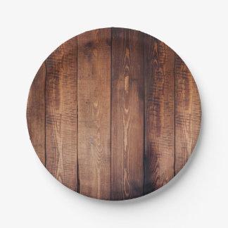 Planches en bois de pays rustique assiettes en papier