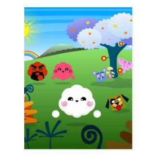 Planète colorée heureuse 01 carte postale