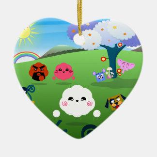 Planète colorée heureuse 01 ornement cœur en céramique