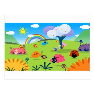Planète colorée heureuse 02 carte postale