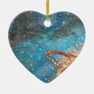 Planète de explosion ornement cœur en céramique
