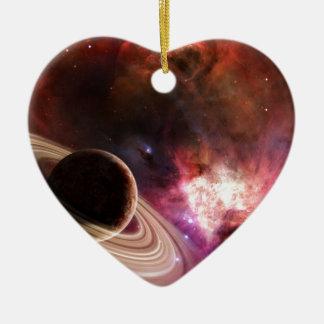 Planète de nébuleuse d'art de l'espace ornement cœur en céramique