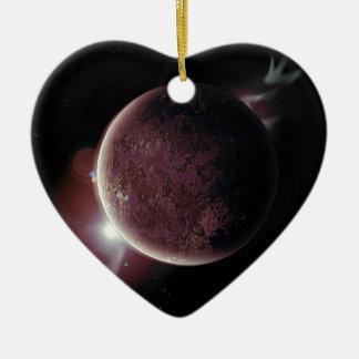 planète rouge dans l'univers avec l'aura et les ornement cœur en céramique