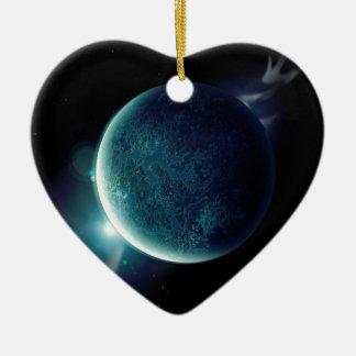 planète verte dans l'univers avec l'aura et les ornement cœur en céramique