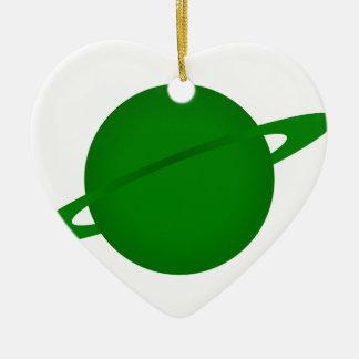 Planète verte ornement cœur en céramique