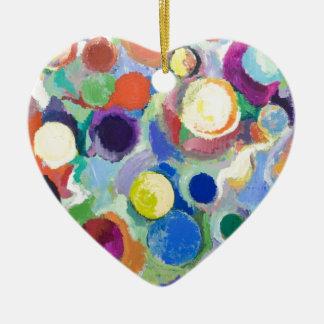 Planètes colorées (expressionisme abstrait) ornement cœur en céramique