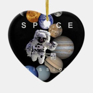 planètes de système solaire de mission spatiale ornement cœur en céramique