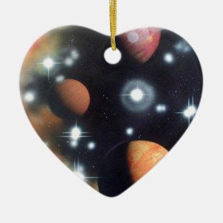 planètes et étoiles dans l'espace ornement cœur en céramique