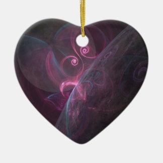 Planètes fractal ornement cœur en céramique