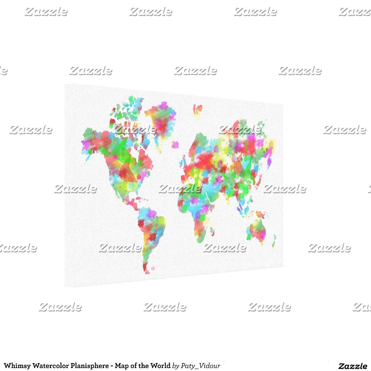 planisphere fantaisie d 39 aquarelle carte du monde impressions sur toile zazzle. Black Bedroom Furniture Sets. Home Design Ideas