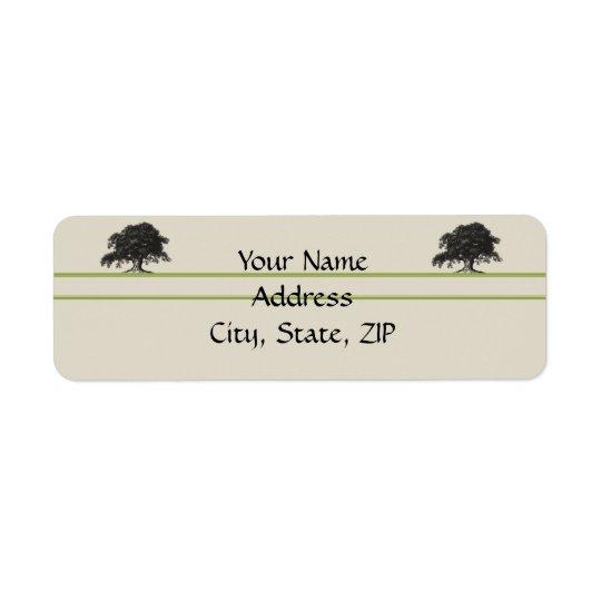Plantation de chêne en vert de pré étiquette d'adresse retour