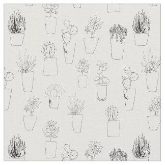 Plantes et cactus succulents dans le tissu de pots