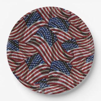 Plaque à papier de drapeau des Etats-Unis Assiettes En Papier