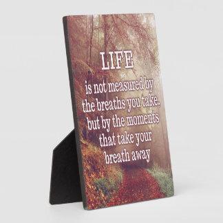 Plaque de citation de la vie