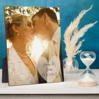 Plaque de photo de mariage avec le coeur et la impression sur plaque