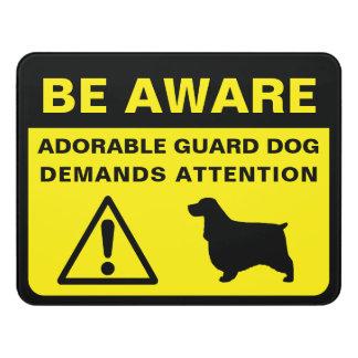 Plaque De Porte Avertissement drôle de chien de garde de cocker