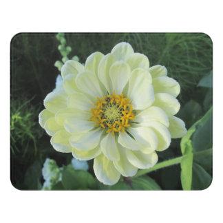 Plaque De Porte Fleur jaune-clair de dahlia