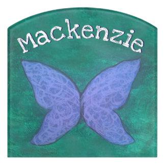 Plaque De Porte Jade bleu pourpre de papillon nommé passionné du